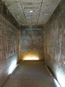 Ornately decorated walls inside a temple in Deir el-Medina (the Workmen's Village)