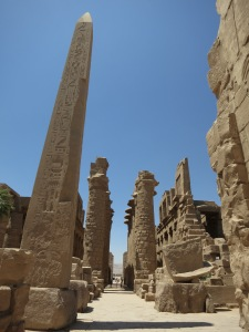 A view down the central axis of the Temples of Karnak, from between the two great obelisks, right back towards the entrance