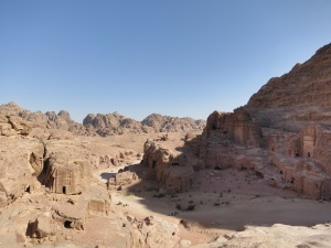 The view back towards the Street of Façades, or Outer Siq, from the climb up towards the High Place of Sacrifice