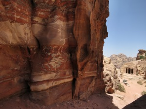 The beautiful colours of the rocks of Petra, in Wadi al-Farasa, with the Garden Hall to the right