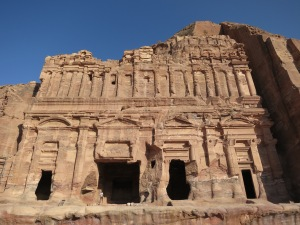 In front of the Palace Tomb, one of the Royal Tombs of Petra