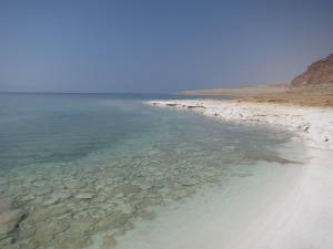 The Dead Sea, on the coast of Jordan