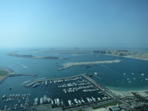 The Palm Jumeirah, as seen from the bar of the Marriott Hotel