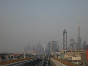 Heading back into central Dubai on the metro, with the Burj Khalifa on the right
