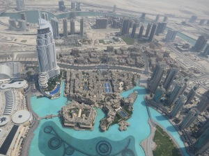 Looking down over the fountain from the viewing platform of the Burj Khalifa