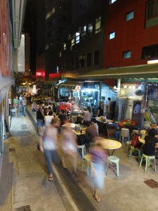 Eateries in 'Rat Alley' (properly known as 'Wing Wah Lane'), in Hong Kong Central