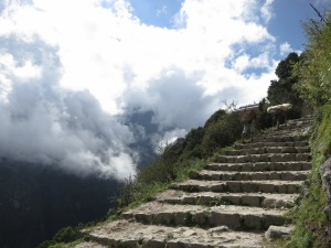 Hiking into the clouds, early in our trek, on the way to Namche Bazaar