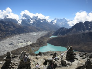 Looking down the Gokyo Valley, over Gokyo and Third Lake and the Gokyo Glacier and beyond, from the summit of Gokyo Ri