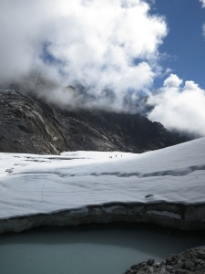 The snow-covered glacier on the other side of the Chola Pass
