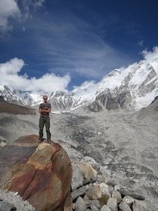 I have found a rock to stand on.  Everest Base Camp is in the background, but you can't really see it here.  Oh well.