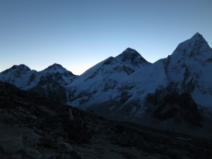Everest (just right of centre, the second-highest-looking peak from this perspective) at dawn