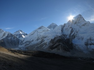 The sun on the tip of Lhotse