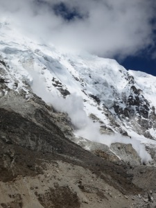 An avalanche next to the Khumbu Glacier, en route to Base Camp