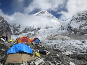 Tents at Everest Base Camp, in front of the glacier icefall between you and Camp II