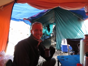 Enjoying a cup of hot Tang in the dining tent at Everest Base Camp