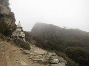 Fog and cloud on the path back towards Namche Bazaar