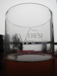 An alternative view from the Everest View Hotel:  one with a clearer indication of Everest.