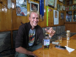 A well-earned Mount Everest scotch in the tea-house in our final night in Lukla