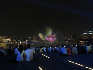 The laser light and sound show at Singapore marina