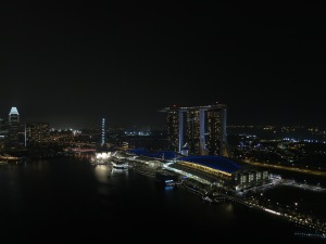 Singapore marina at night, from above