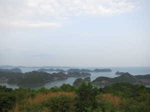 Lan Ha Bay with a sampling of its famed hundreds of limestone karst islands, seen from the Cannon Fort lookout on Cat Ba Island