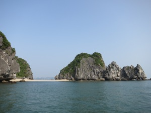 A double-sided beach (or does that just make it a sand isthmus?) among the limestone karst islands in Lan Ha Bay