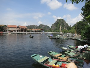 Boats on the Ngô Đồng River, waiting to row tourists out to Tam Cốc