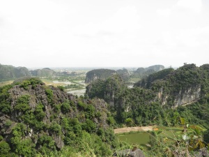 The view across the rice paddies and among the limestone karst towers from the top of one of those towers, above Bích Động Pagoda