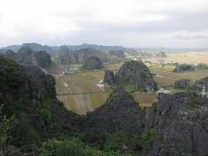 The view across the flooded rice paddies and limestone karst towers towards Ninh Binh, as seen from the top of the climb above Hang Mua