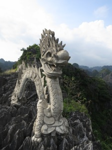 Also at the top of the karst above Hang Mua, a giant dragon statue