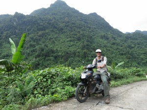 Me enjoying my time on a scooter in Phong Nha-Ke Bang National Park