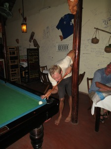Trying to play pool with somewhat limited room in a bar in Hoi An