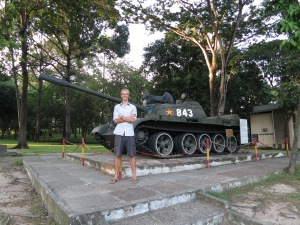 Me in front of a replica of Tank 843, the tank which rammed through the gates of the Presidential Palace (now the Revolutionary Palace), signifying the North's taking of Saigon (now Ho Chi Minh City)