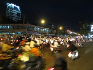 The chaos of night-time traffic at one of Saigon's main intersections