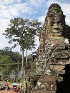 From the wall beside the southern entrance to Angkor Thom, looking west across the moat