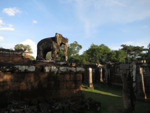 One of the elephant statues guarding East Mebon