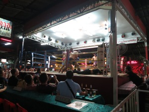 The referee takes a hit from one of five blindfolded competitors at the Muy Thai boxing in Chiang Mai, and falls to the mat