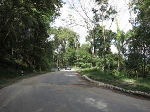 A section of road possibly in slight need of repair, on the road from Chiang Mai to Pai