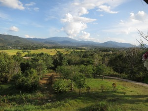 A view out over the plains near Pai, from the coffee shop at the Pai viewpoint