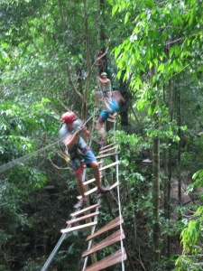 Screwing around in the jungle, at Tree Top Adventure Park Krabi