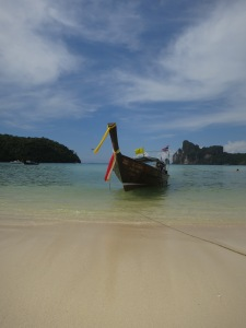 A longtail moored at the beach in Loh Da Lum Bay, Ko Phi Phi Don