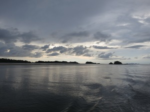 The western tip of Koh Lanta, viewed from our dive boat as we return just before sunset from a hard day's diving at Koh Ha