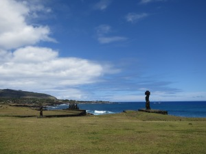 Moai just north of Hanga Roa (left), including Ahu Tahai (the line of moai on a platform, just left of centre)