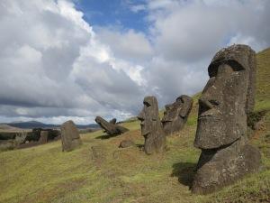 Moai on the gentle slopes of Rano Raraku