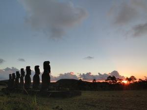 Moai at Ahu Akivi at sunset