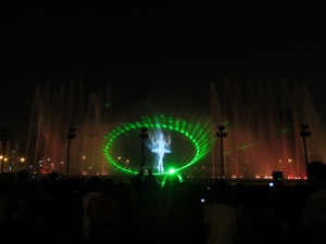A scene from the light and sound show at Lima's fountain park.  Very impressive.