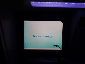 A gecko on the screen of an ATM on Santa Cruz