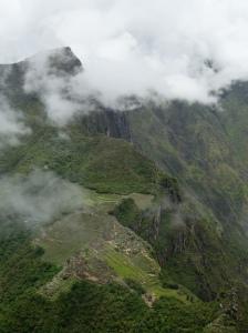 Machu Picchu with Machu Picchu Mountain in the background, seen from Huayna Picchu