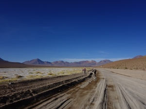 Driving through the desert in southern Bolivia