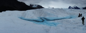 A brilliant blue lagoon on Perito Moreno Glacier